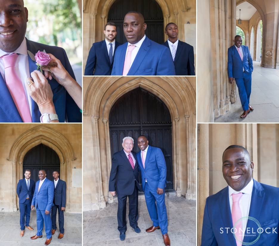 The groom and his groomsmen at St Luke's Church on Sydney Street in London