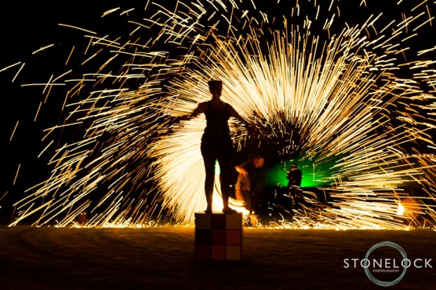 Fire show at Greenbelt Festival 2015 at Boughton House in Northamptonshire