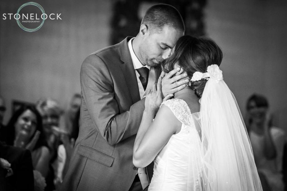 The kiss after the marriage ceremony at Ramside Hall in Durham