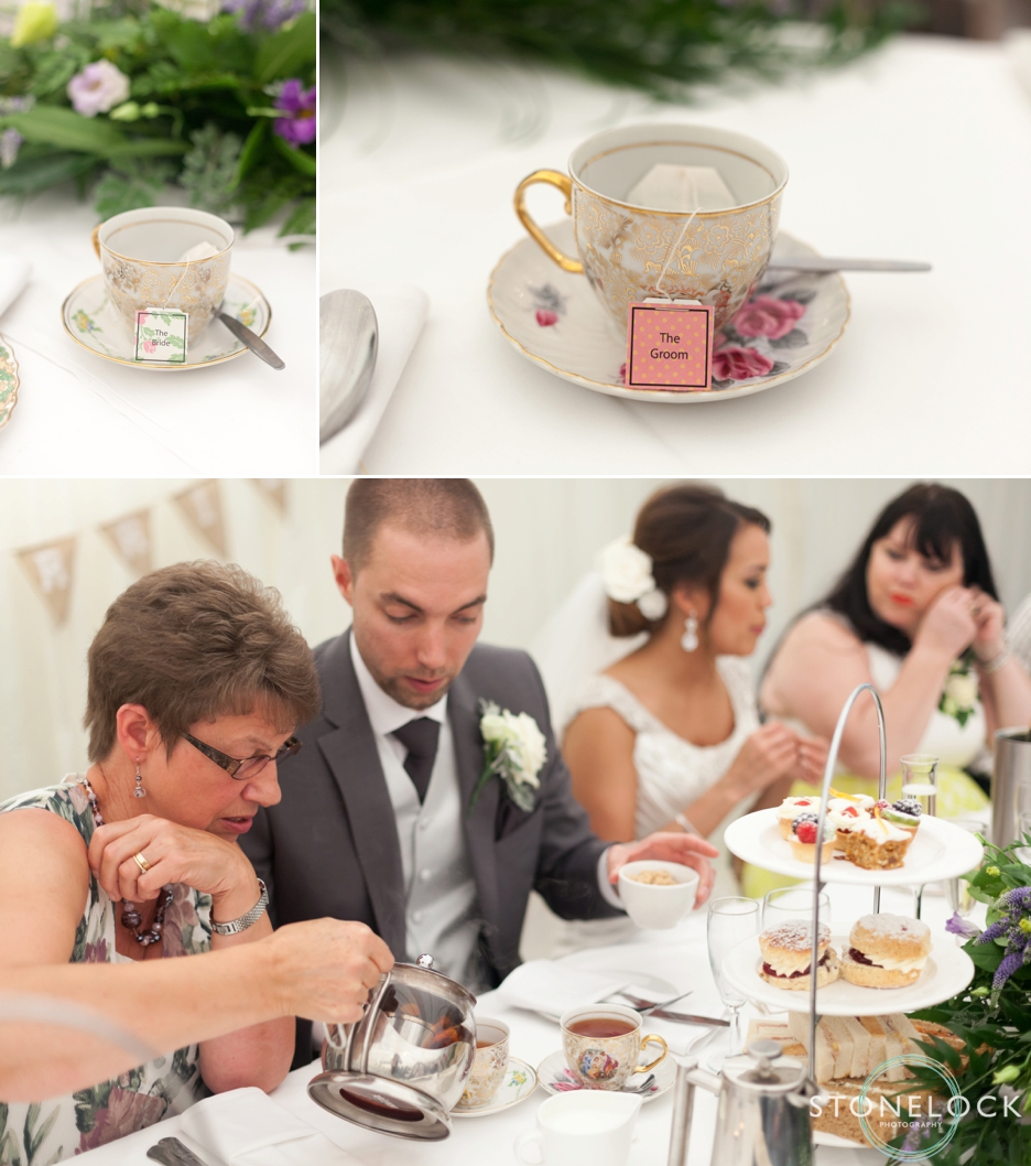 A beautiful afternoon tea served to wedding guests at Ramside Hall in Durham