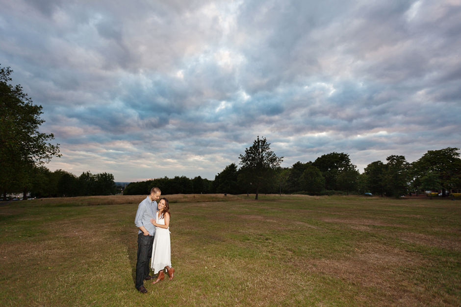 Engagement photo shoot on Streatham Common in London as the sun sets