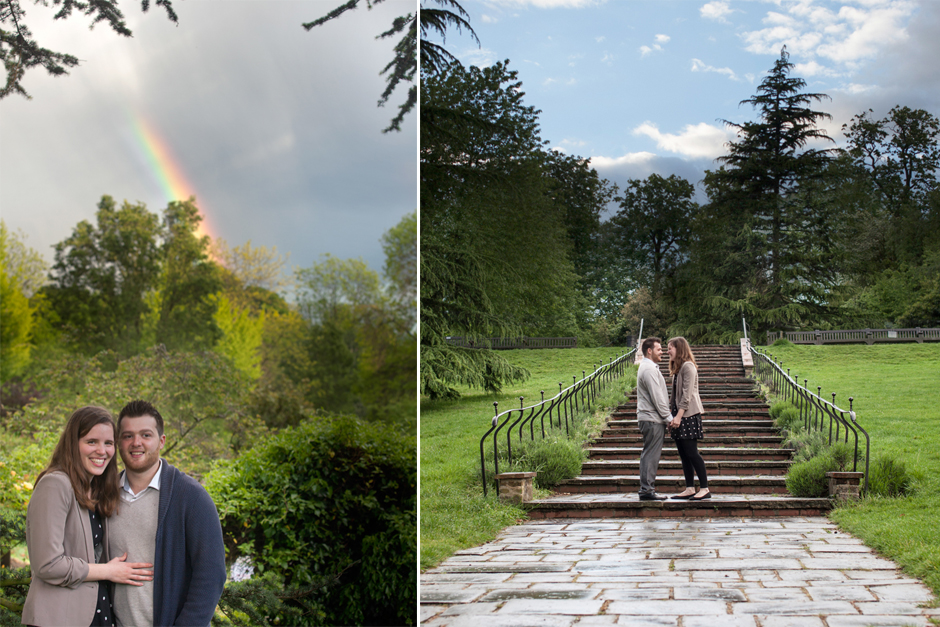 Engagement photo shoot under a rainbow at the Rookery on Streatham Common in London