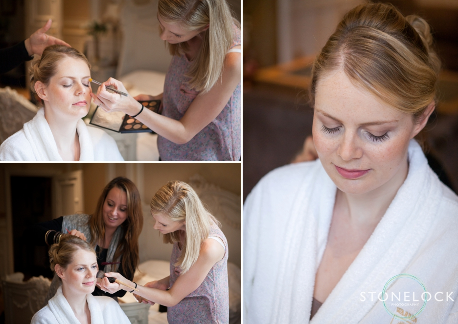 The bride being made-up in the Bridal Suite at Warren House in Kingston
