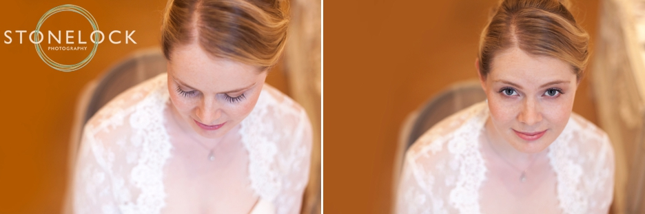 Photographs of the bride in the Bridal Suite at Warren House in Kingston