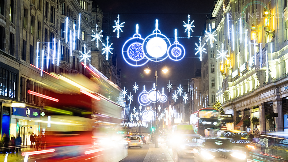Christmas lights on the Strand, London