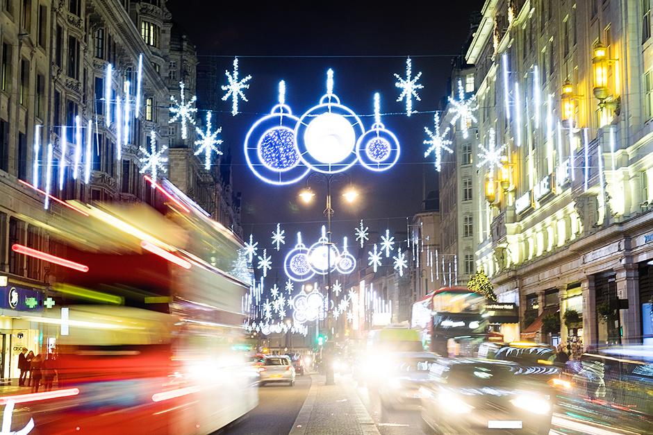 London Christmas Lights on the Strand