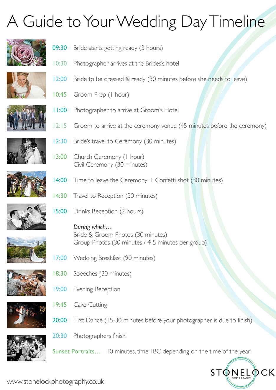 A Guide to your Wedding Day Timeline by Stonelock Photography