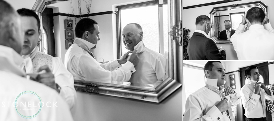 Groom and his father get ready for the wedding