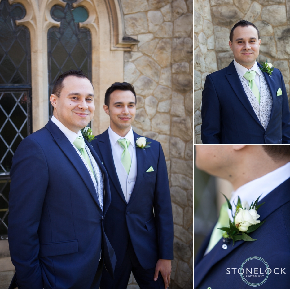 The groom and his best man at Trinity Church in Sutton