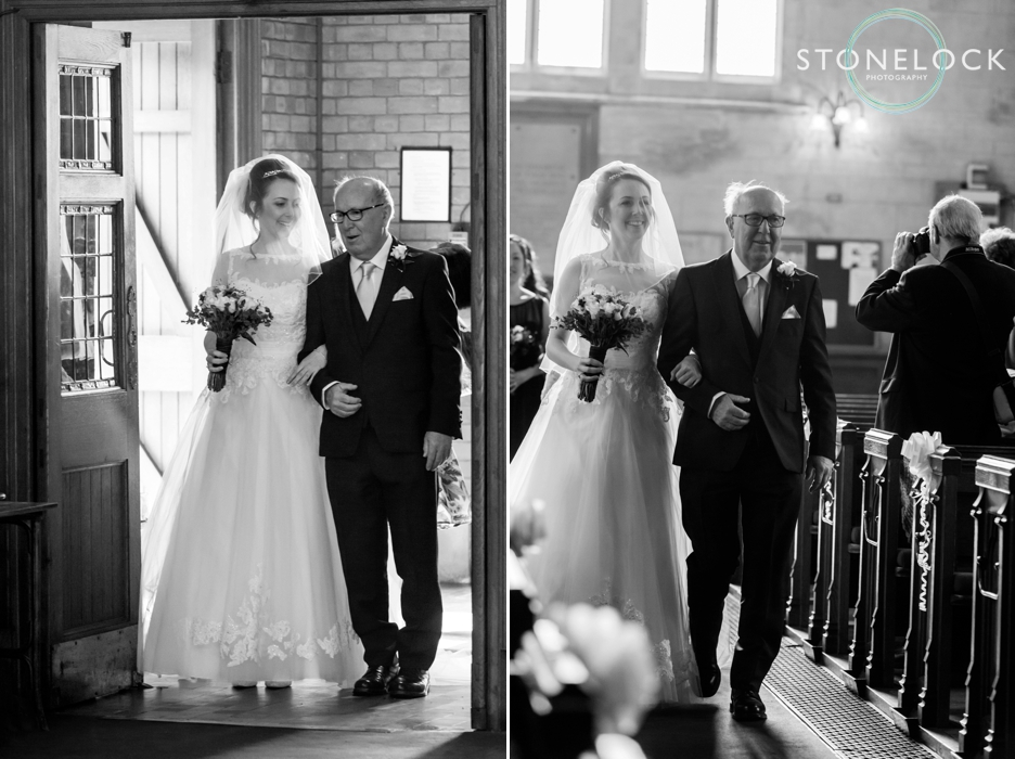 The Bride walks down the aisle with her father at Trinity Church in Sutton, Surrey