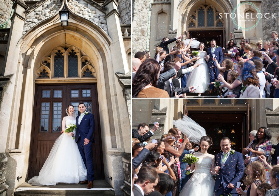 Just married! At Trinity Church in Sutton, Surrey