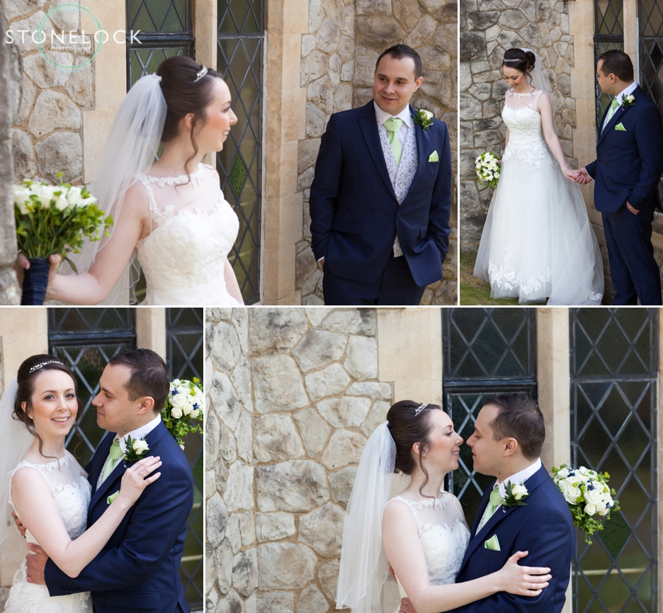 Bride and Groom outside Trinity Church in Sutton for their wedding photography
