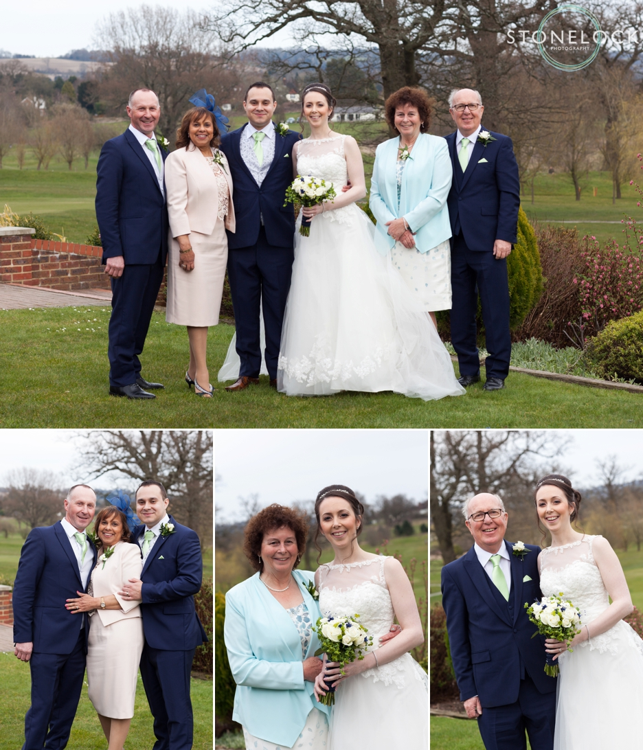 The Bride and Groom with their parents at Reigate Hill Golf Club