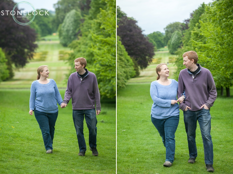 Walking in the avenue of trees Cambridgeshire engagement wedding shoot