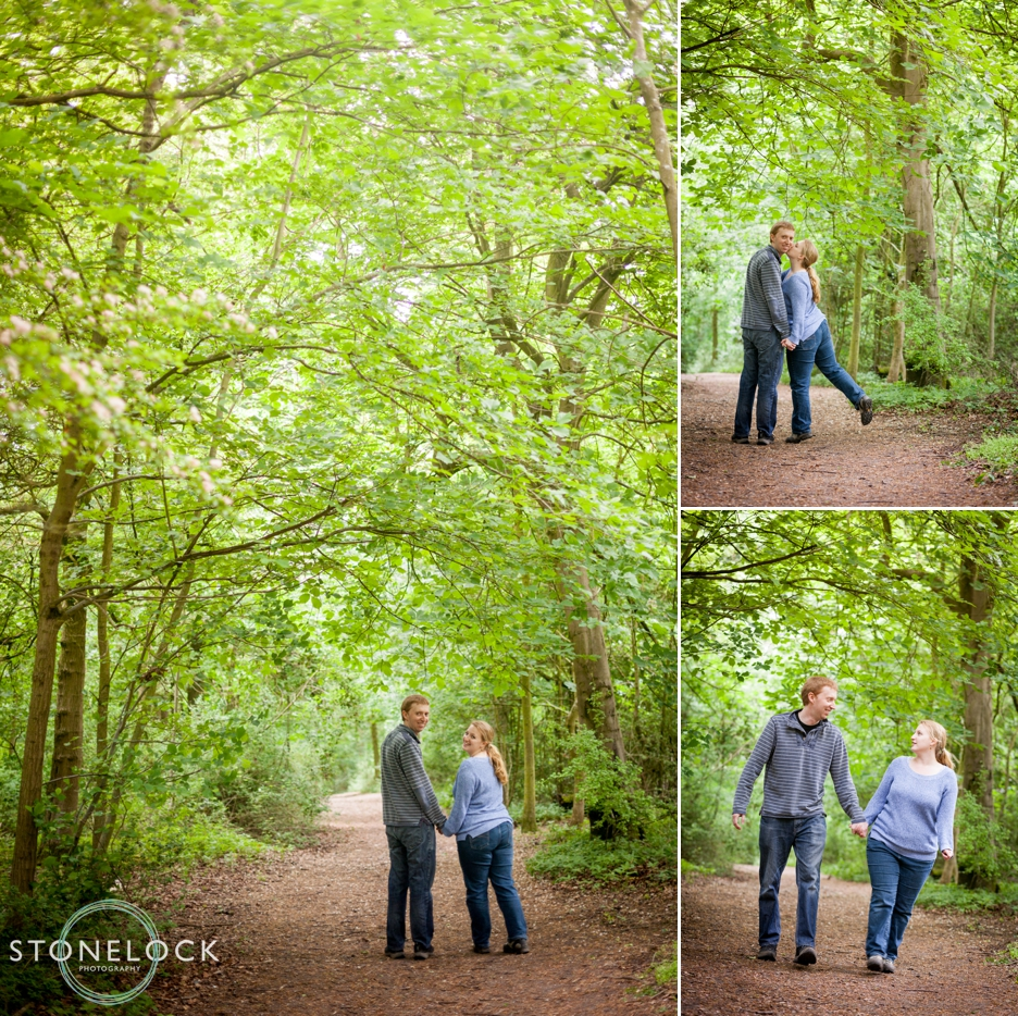 Walking in the woods a Cambridgeshire engagement wedding shoot