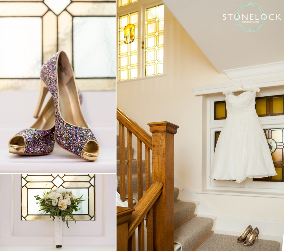 The bride's wedding dress and shoes ready for her to put on, wedding photography