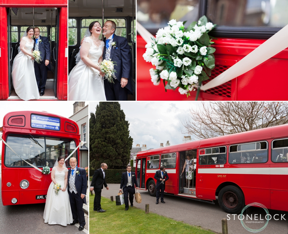 Vintage red London bus as a wedding car in barnes, London, wedding photography