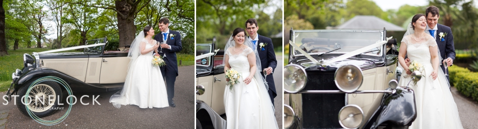 Bride and Groom wedding portraits with a classic car at Pembroke Lodge in Richmond Park, London, wedding photography