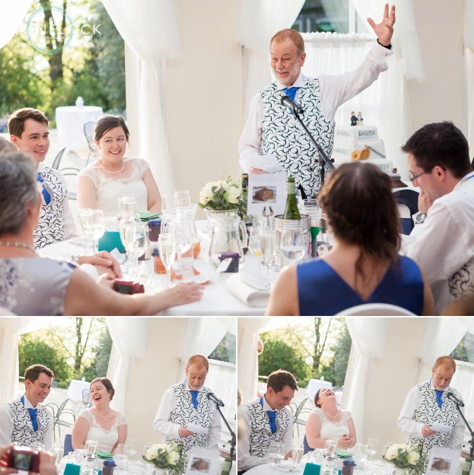 The father of the bride speech at a wedding in Pembroke Lodge in Richmond Park, London, wedding photography
