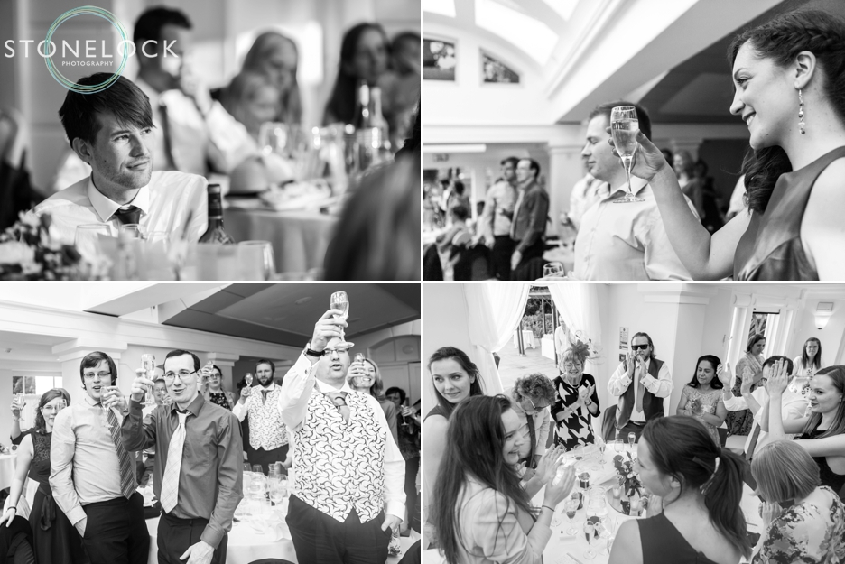 Toasting the Bride & Groom during the wedding speeches at Pembroke Lodge in Richmond Park, London, wedding photography