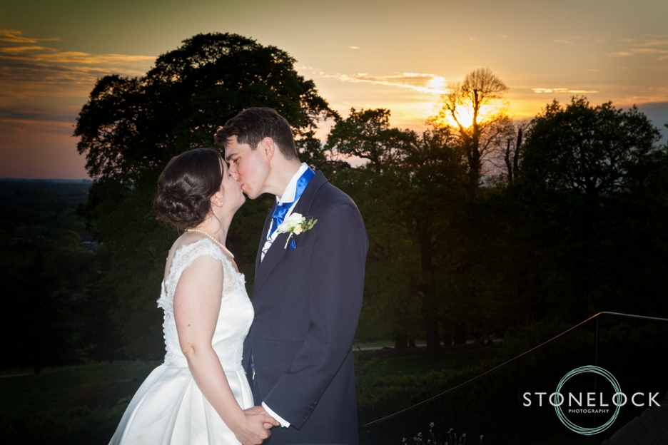 Sunset portrait of Bride & Groom at Pembroke Lodge in Richmond Park, wedding photography