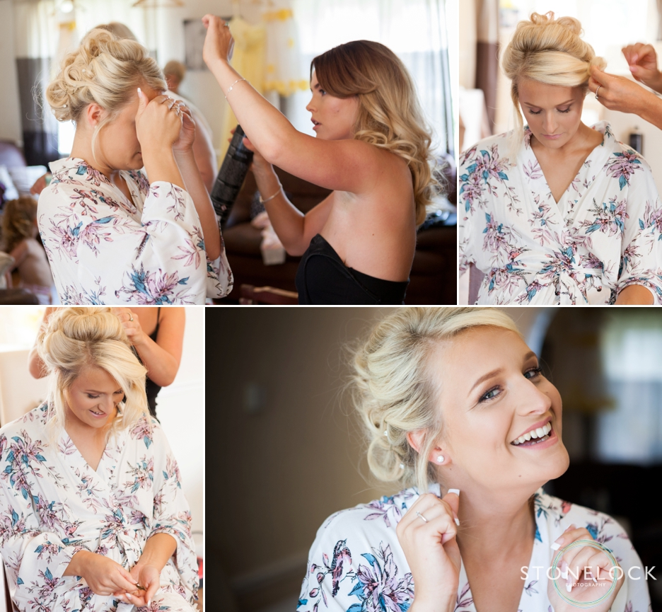 Photos of a bride getting ready for her wedding