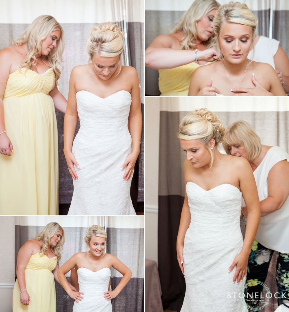 Photos of a bride getting ready for her wedding, putting on her wedding dress