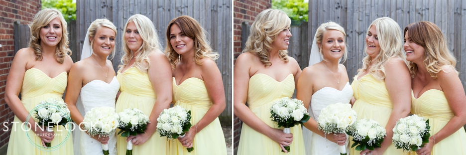 Wedding photos of a bride with her bridesmaids in yellow dresses