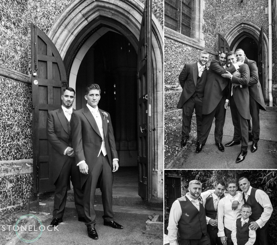 The groom and his best man at All Saints Church in Carshalton, Surrey, ready for the wedding