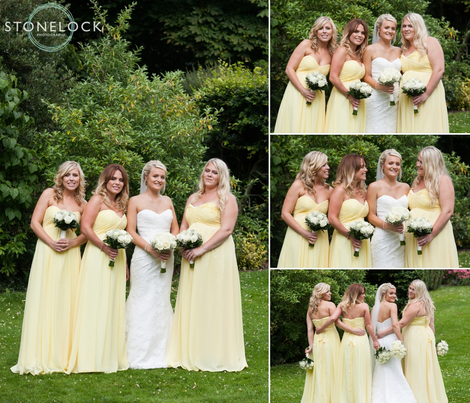 Bride and her bridesmaids in yellow dresses in Carshalton, Surrey, wedding photography