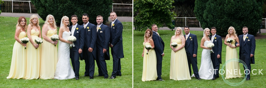 The bride and groom with the bridesmaids and ushers in Carshalton, Surrey