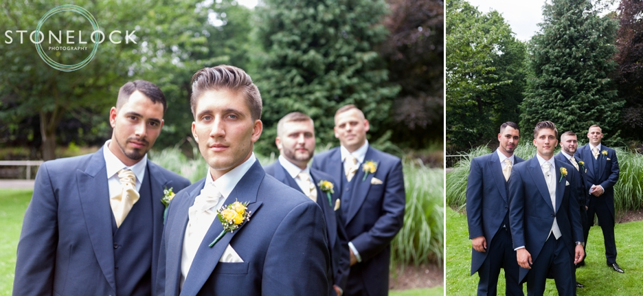 A groom with his best man and ushers in Carshalton, Surrey