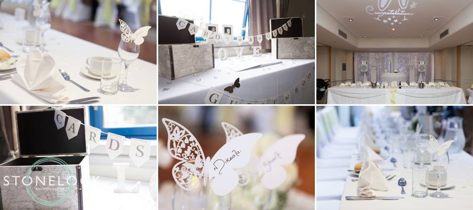 Photographs of the wedding reception details in Surrey