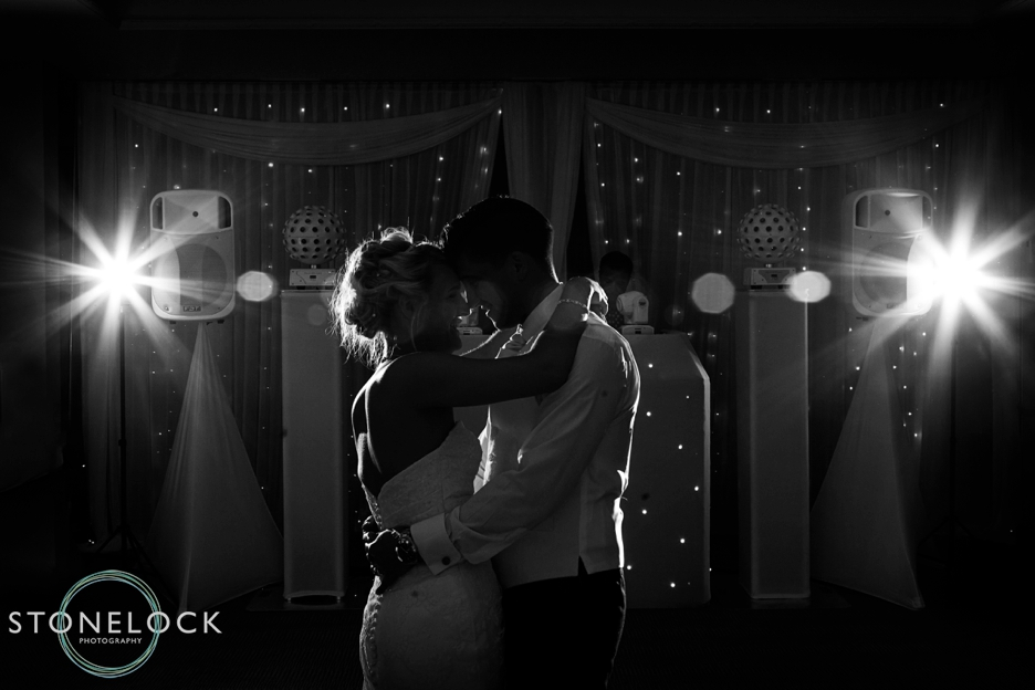The first dance with the bride and groom at a wedding in Surrey, photography