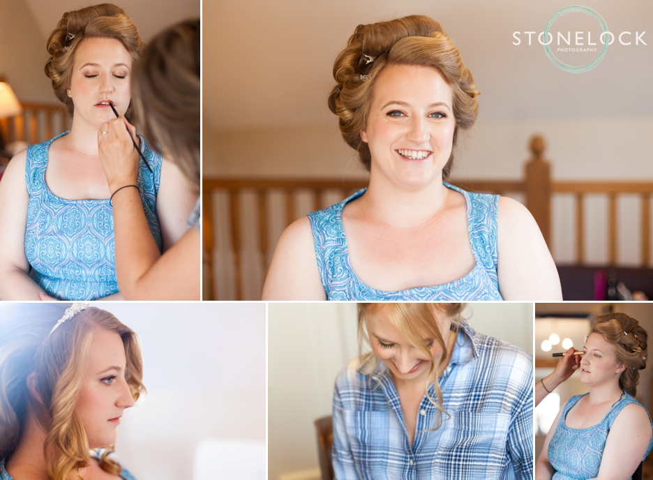 The bride getting ready for her wedding at Bassmead Manor Barns in Cambridgeshire