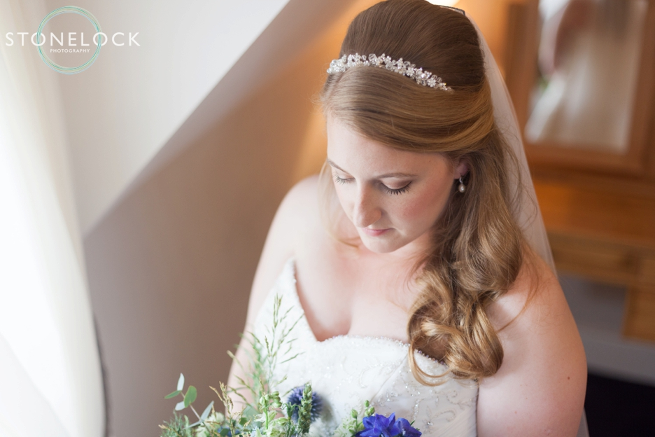 Bride portraits before her wedding at Bassmead Manor Barns in Cambridgeshire
