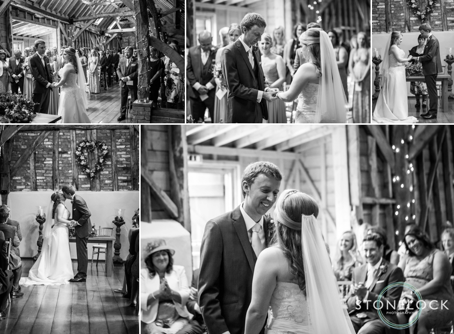 The wedding ceremony at Bassmead Manor Barns in Cambridgeshire