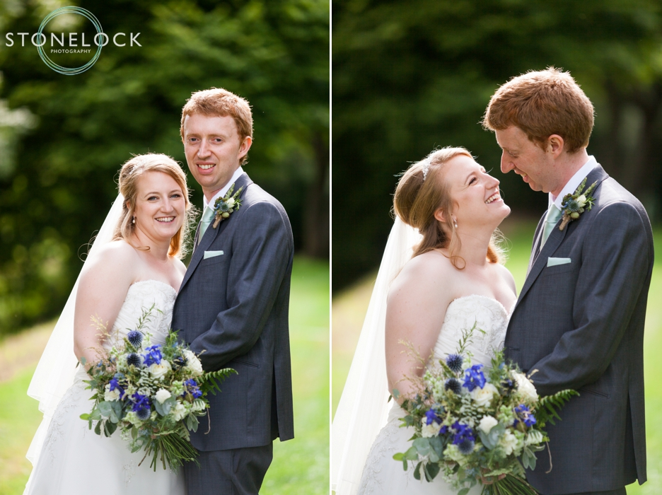 Bride and groom at Bassmead Manor Barns in Cambridgeshire for their wedding photography
