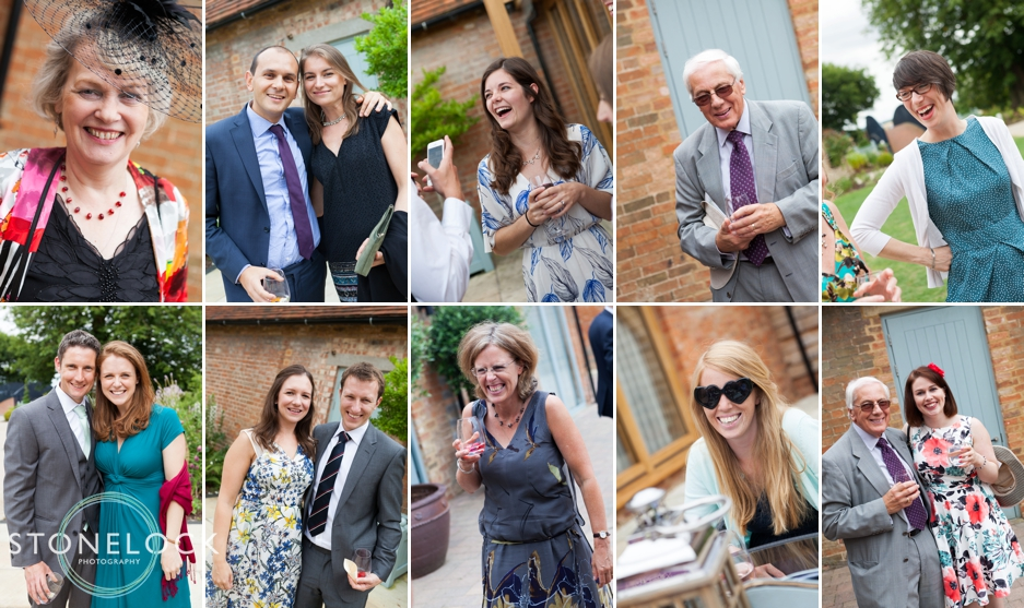Wedding guests at Bassmead Manor Barns in Cambridgeshire