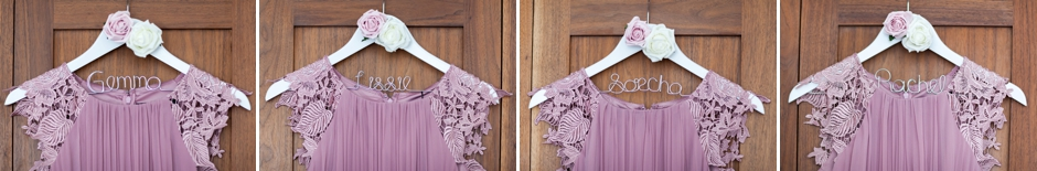 Bridesmaids dresses hanging on personalised hangers