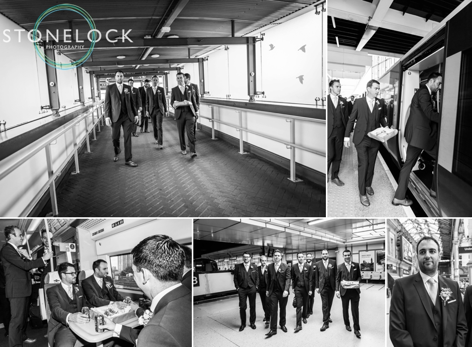 The groom and his groomsmen travel by train to the wedding ceremony starting at East Croydon
