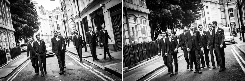 The groom and his groomsmen walk to the London wedding ceremony