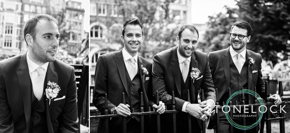The groom and his groomsmen in Golden Square, Soho