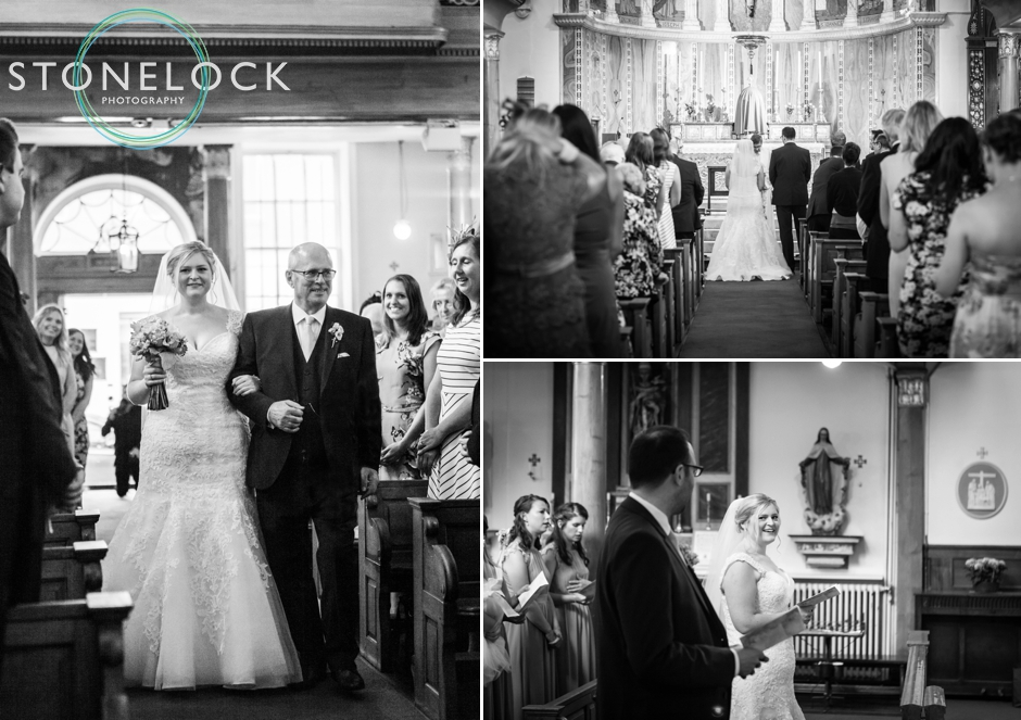 The wedding ceremony at Church of Our Lady of the Assumption & St Gregory in Soho, London