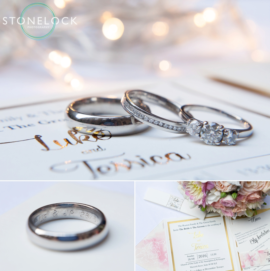 Invitation and wedding rings for a London wedding