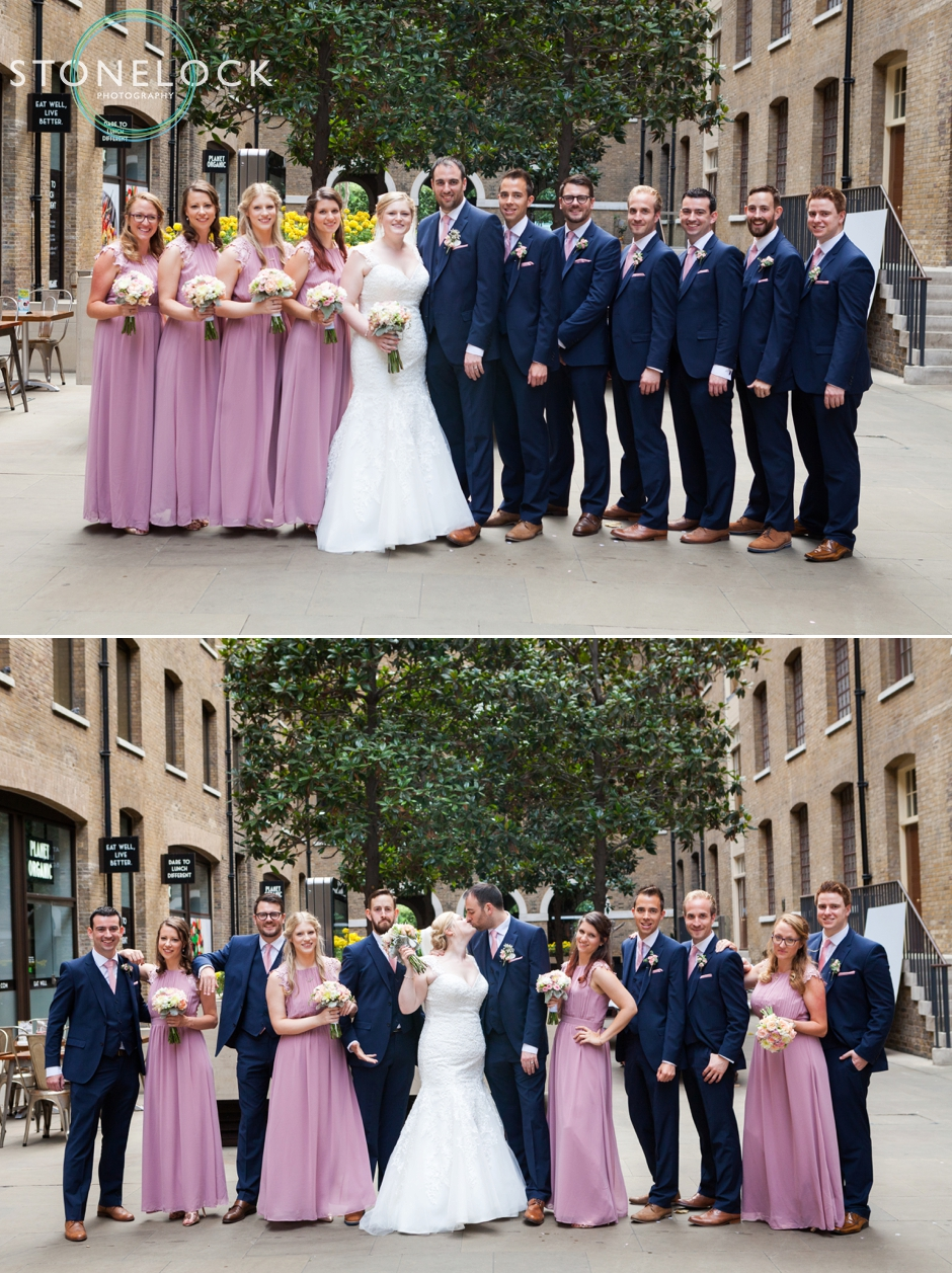 The bridal party at Devonshire Square, Bishopsgate at a London wedding