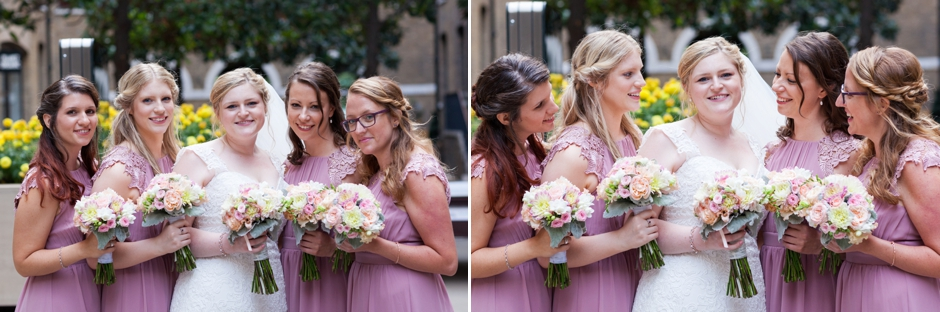 The bride and her bridesmaids at Devonshire Square, Bishopsgate at a London wedding