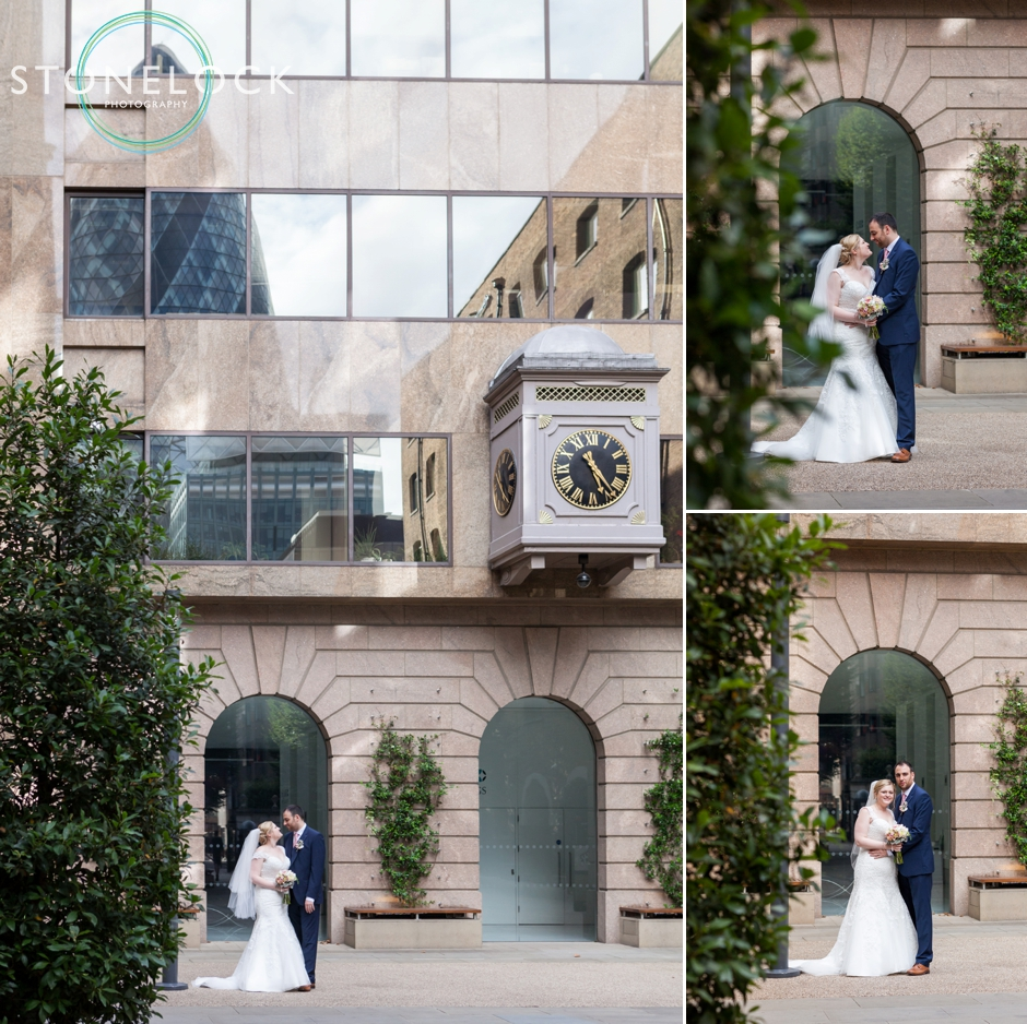 The bride and groom at Devonshire Square, Bishopsgate at a London wedding