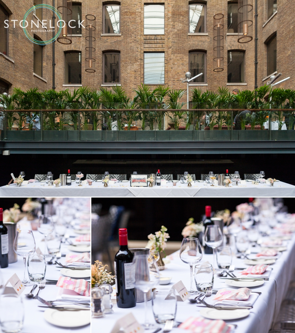 Wedding reception at Devonshire Square in Bishopsgate, London