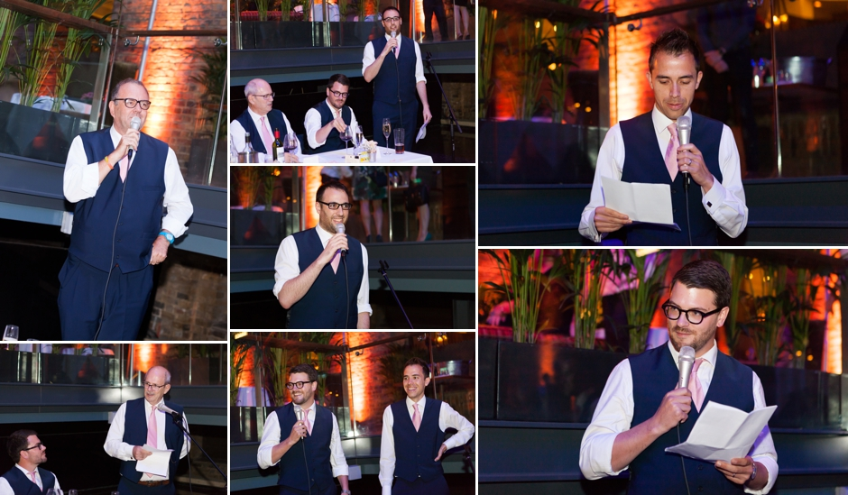 Speeches at a wedding reception at Devonshire Square in Bishopsgate, London